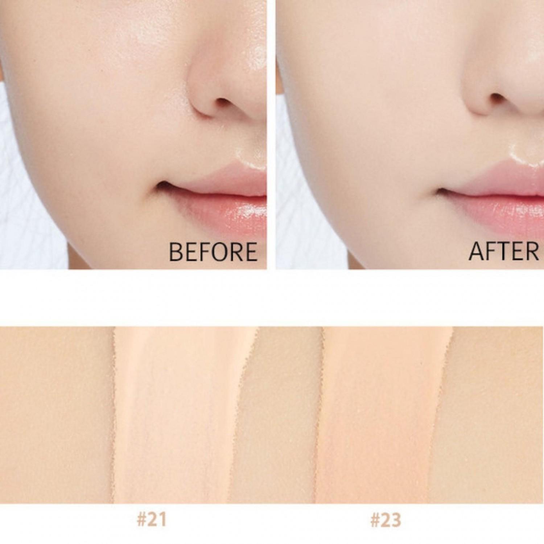/><strong><br />Thành Phần Và Công Dụng:<br /></strong>- Duy trì lớp trang điểm trong thời gian dài mà không xảy ra hiện tượng xuống tông khiến khuôn mặt bị tối.<br />- Phấn tạo cảm giác da mướt, mượt mà không bị mốc hay khô da.<br />- Độ kiềm dầu tốt, phù hợp với cả bạn da dầu hay hỗn hợp dầu đến da thường.<br />- Kết cấu kem mềm mỏng mịn giúp tăng khả năng bám trên da và không bị bết dính.<br />- Nước cây tre, chiết xuất cây baobap, nước cây phỉ nguyên chất giúp làm dịu da và cung cấp dưỡng chất cho da.<br />- Bổ sung nước khoáng và cây phỉ giúp se da, khít lỗ chân lông, tăng cường dưỡng ẩm, tạo nên một bề mặt make up mịn màng, bóng khoẻ và tự nhiên nhất.<br />- Độ chống nắng cao SPF50+ PA+++, thích hợp dùng mùa hè.<br />- Khả năng cấp nước làm mát giúp da dầu không bị đổ dầu, cực phù hợp cho mùa hè nóng bỏng. <br /><br /><img src=