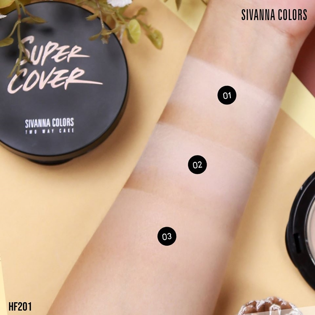 SIVANNA COLORS, Phấn Nền Sivanna Colors Super Cover Two Way Cake 10g .#01  Light Beige | Watsons Vietnam